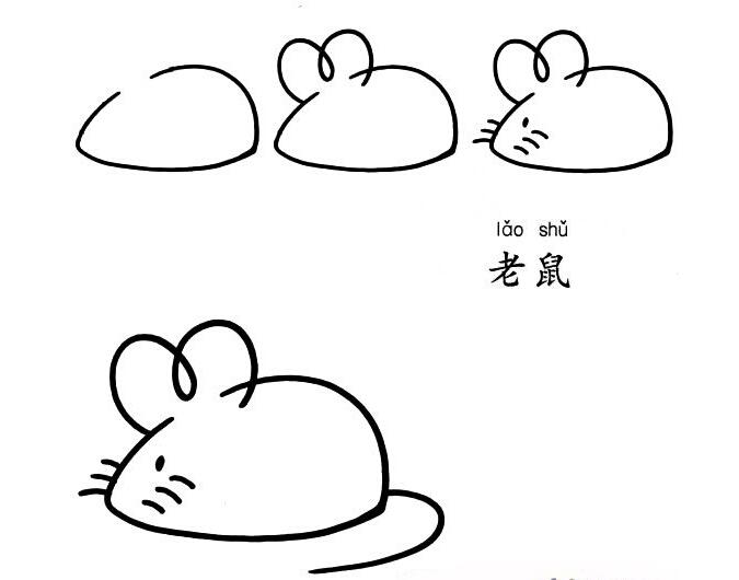 老鼠简笔画画法教程图片