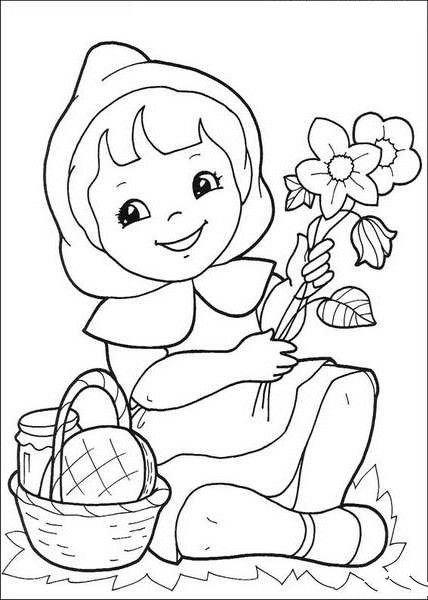 卡通人物简笔画:小红帽图片