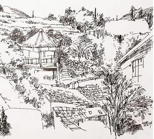乡村美景简笔画_房子和树简笔画涂颜色图片