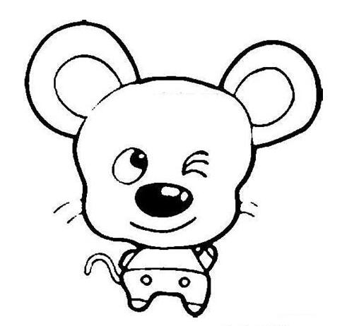 小老鼠简笔画:害怕吃药的小老鼠